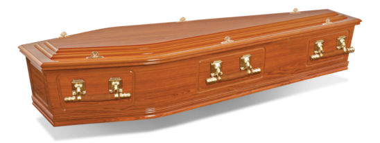 • Paper veneer coffin • Teak gloss finish • Single-raised lid • Gold coloured woodbar handles and thumbscrews